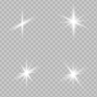 Estrelas brilham efeito de luz especial. brilhos de vetor.