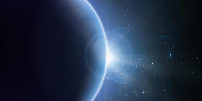 Estrelas brilhantes brilham da borda de um planeta