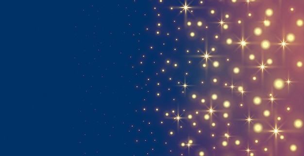 Estrelas brilhantes brilhos e banner de férias