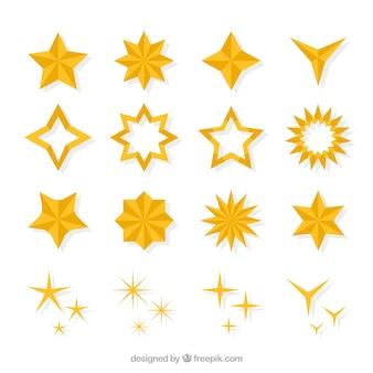 Estrelas brilhantes com formas diferentes