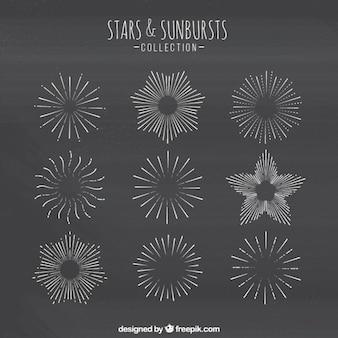 Estrelas brilhantes e recolha sunburst