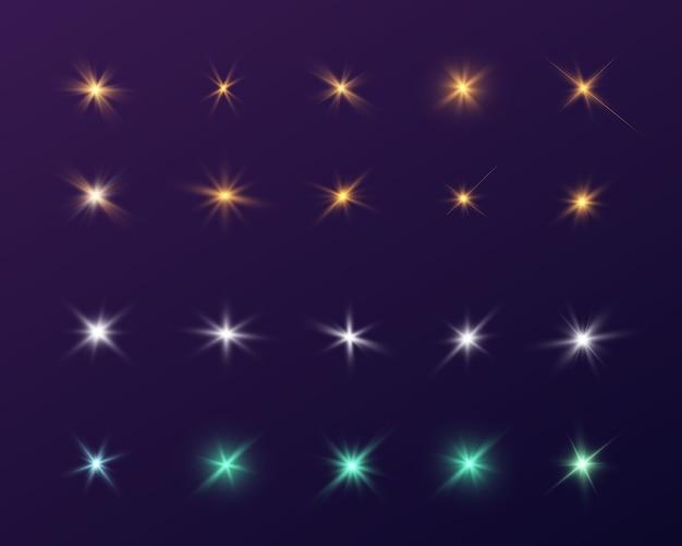 Estrelas brilhantes. flashes multicoloridos de corpos celestes.
