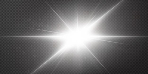 Estrelas brilhantes isoladas em um fundo branco transparente. efeitos, brilho, brilho, explosão, luz branca, conjunto. o brilho das estrelas, o belo brilho do sol.