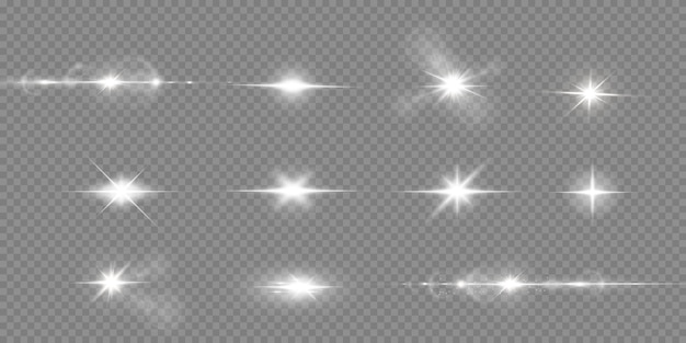 Estrelas brilhantes isoladas em um fundo branco transparente. efeitos, brilho, brilho, explosão, luz branca, conjunto. o brilho das estrelas, o brilho do sol.