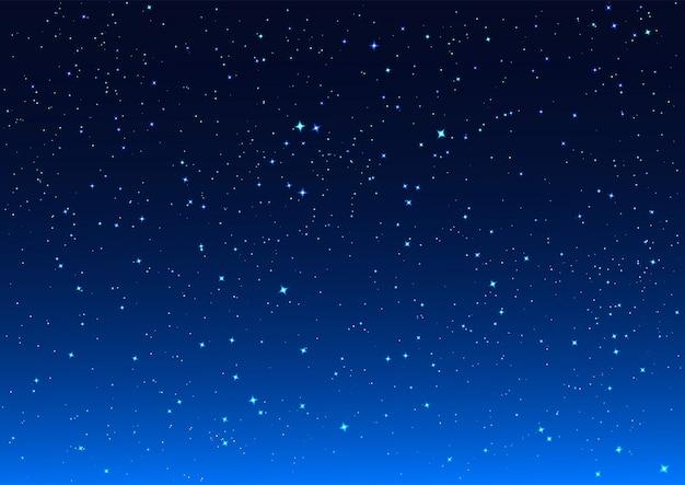 Estrelas brilhantes no céu noturno azul escuro