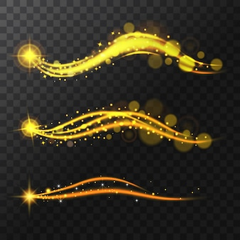 Estrelas brilhantes realistas, brilho e brilho. voar trilha espumante magic.