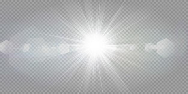 Estrelas brilhantes sobre um fundo branco transparente.