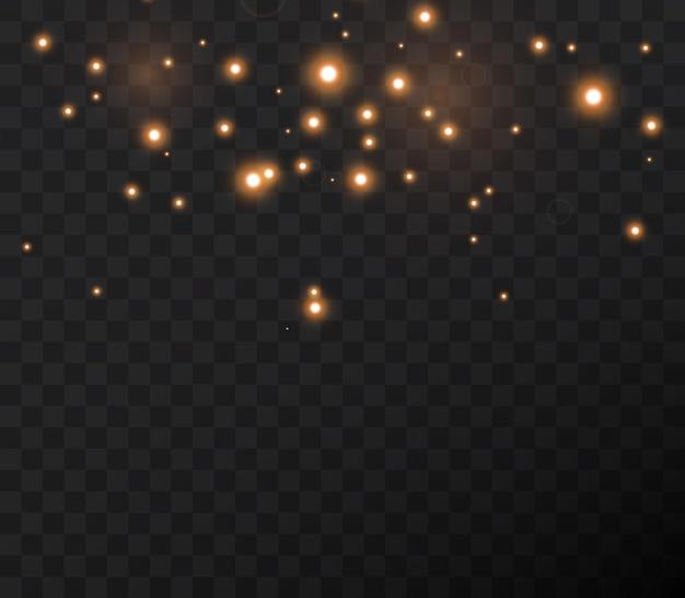 Estrelas brilhantes voam pela noite