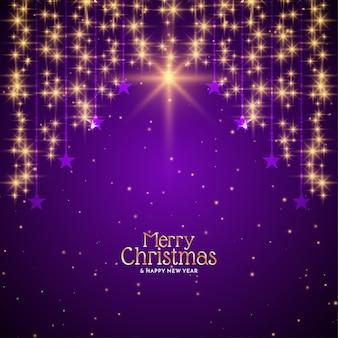 Estrelas cadentes douradas de feliz natal fundo violeta