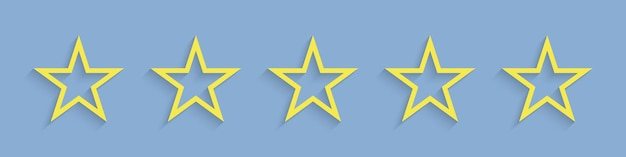 Estrelas. cinco estrelas de classificação de vista amarelo vibrante.