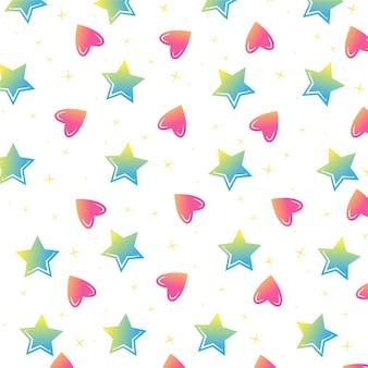 Estrelas coloridas e corações vector sem costura padrão