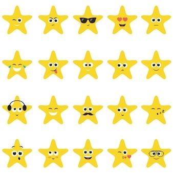 Estrelas com rostos sorridentes