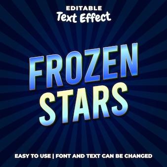 Estrelas congeladas título jogo estilo efeito efeito texto