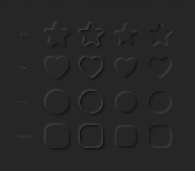 Estrelas, corações, círculos e quadrados em diferentes variações no preto