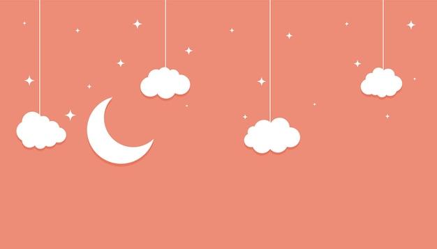 Estrelas da lua e nuvens de papel plano, fundo de estilo