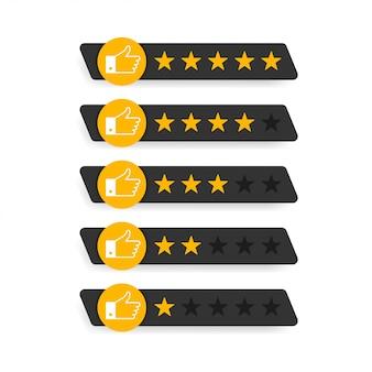 Estrelas de avaliação emblemas em branco