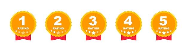 Estrelas de avaliação. feedback de zero a cinco estrelas. revisão do cliente. classificação de estrelas. ilustração vetorial.