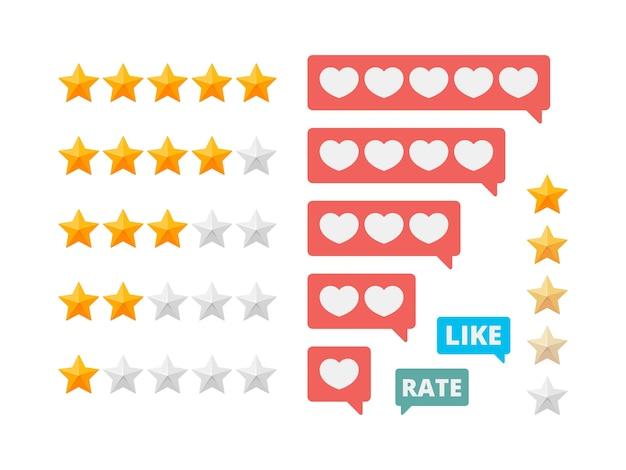 Estrelas de avaliação. pontuações de avaliação social gostam de símbolos de coração. estrela de avaliação da ilustração e voto na avaliação