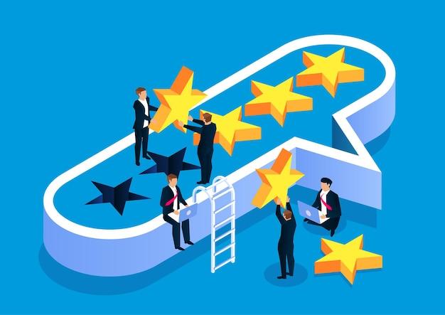 Estrelas de balões de fala e ilustração de estoque de avaliações de feedback