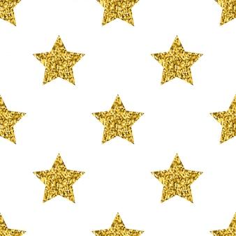 Estrelas de brilho dourado vector branco padrão sem emenda