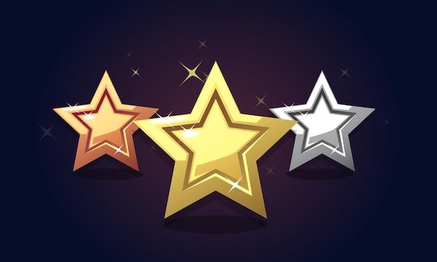 Estrelas de classificação de prata de bronze dourado