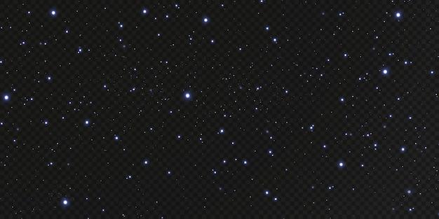 Estrelas de confete de ouro de natal estão caindo, estrelas brilhantes voam pelo céu noturno em meio ao reflexo dos pontos de luz do espaço. fundo de férias. brilho mágico.