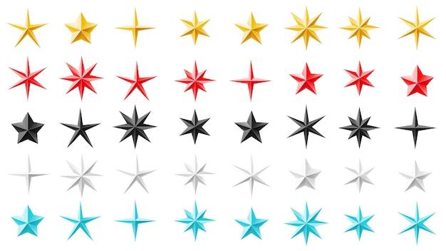 Estrelas de diferentes formas geométricas. metal, folha, papel. conjunto decorativo para festas, eventos, prêmios