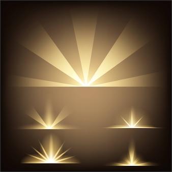 Estrelas de efeito de luz de brilho explode com brilhos. sunburst