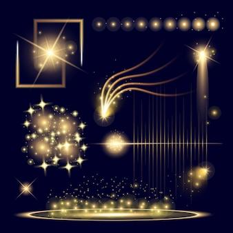 Estrelas de efeito de luz de brilho explode com brilhos.