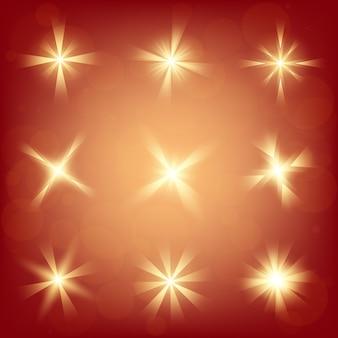 Estrelas de efeito de luz de brilho explodem com brilhos.