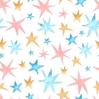 Estrelas de fundo aquarela sem costura padrão