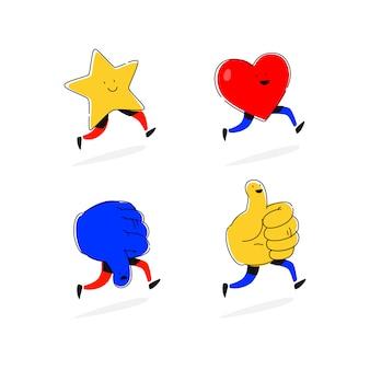 Estrelas de ícones, corações, gostos e antipatia. vetor.