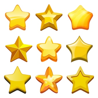 Estrelas de jogo dos desenhos animados. ícones de botões de gui dourado de cristal e modelo de jogos para celular da barra de status