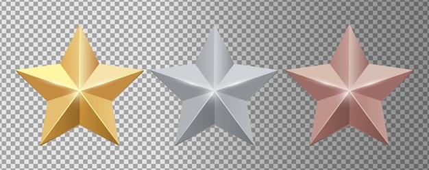 Estrelas de metal. conjunto de estrelas realistas de ouro, prata e bronze