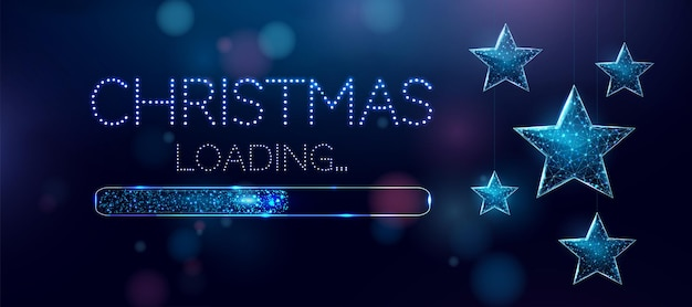 Estrelas de natal em estrutura de arame e barra de carregamento, estilo low poly. banner de feliz natal e ano novo. ilustração em vetor 3d moderna abstrata sobre fundo azul.
