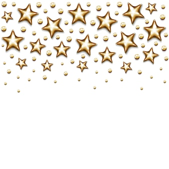 Estrelas de natal ouro e miçangas em fundo branco.