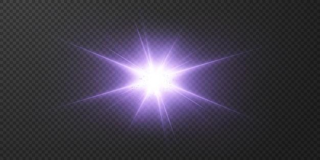 Estrelas de néon brilhantes em fundo transparente