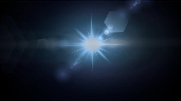Estrelas de néon brilhantes isoladas em fundo preto.