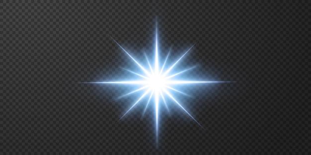Estrelas de néon brilhantes isoladas em fundo preto