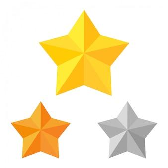 Estrelas de ouro, bronze e prata. conjunto de vitória e competição