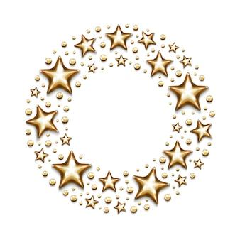Estrelas de ouro de natal e miçangas em círculo sobre fundo branco.