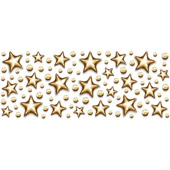 Estrelas de ouro de natal e miçangas em retângulo em fundo branco.