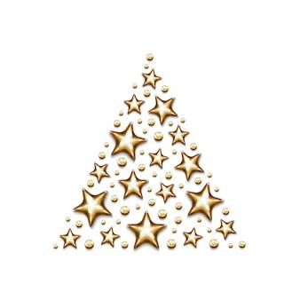 Estrelas de ouro de natal e miçangas em triângulo em fundo branco.