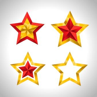 Estrelas de ouro natal ano novo férias 3d
