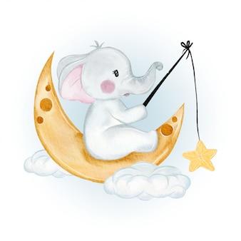 Estrelas de pesca bonito elefante sentado na lua