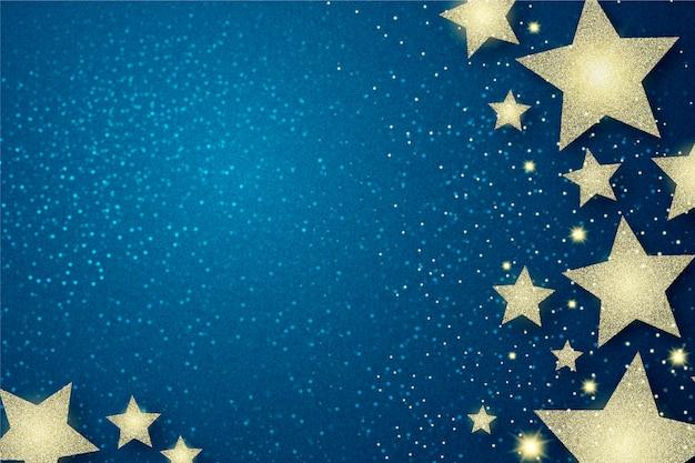 Estrelas de prata e fundo de efeito de brilho