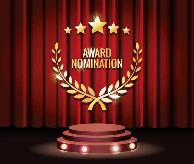 Estrelas de prêmio de filmes e troféu de grinalda