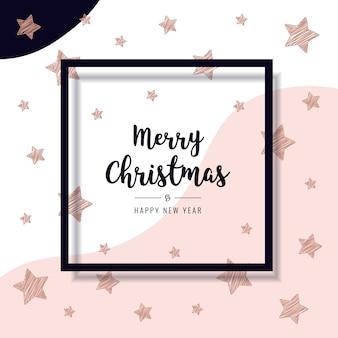 Estrelas de rabisco de natal rosa cartão ouro