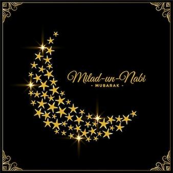 Estrelas decorativas e fundo de lua para o festival milad un nabi