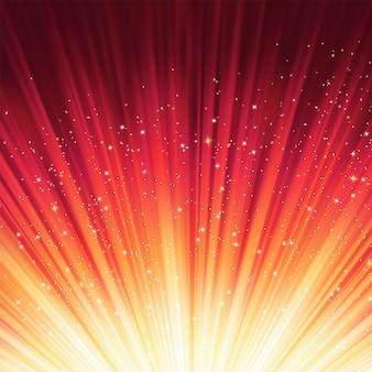 Estrelas descendo em luz vermelha.